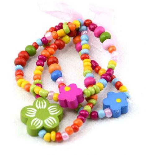 Pack of 12 Childrens wooden Bracelet's (KidsBRAC1) only 20p Each