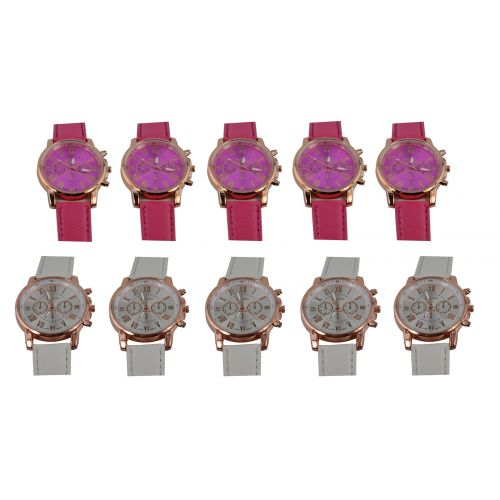 Pack of 10 Wholesale Geneva Leather Strap Quartz Ladies Watches