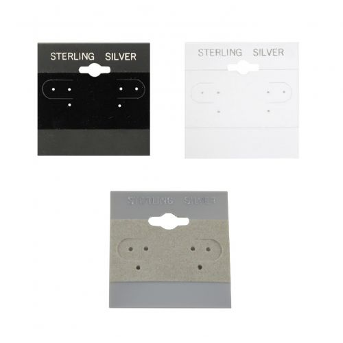 Sterling Silver Earring Puff Pad Hanging Cards - Pack of 100 - Colour and Size Choice
